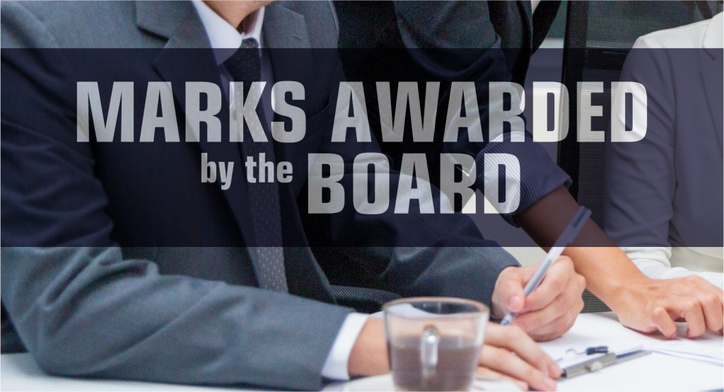 Marks awarded by the Board
