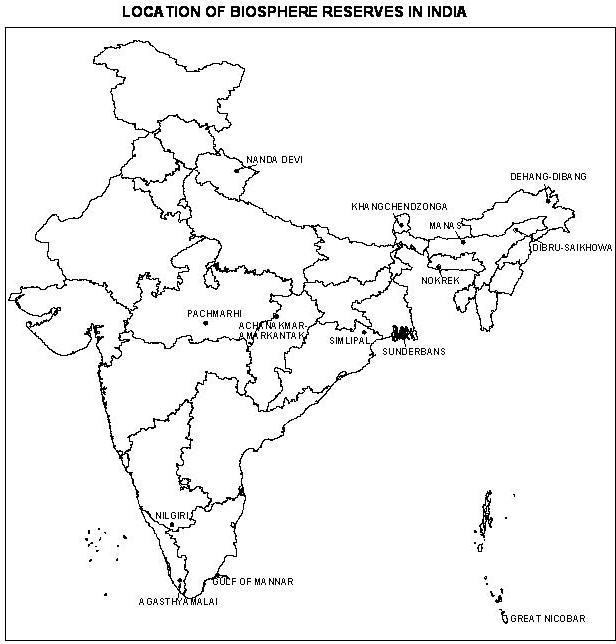 Location of biosphere reserves in india