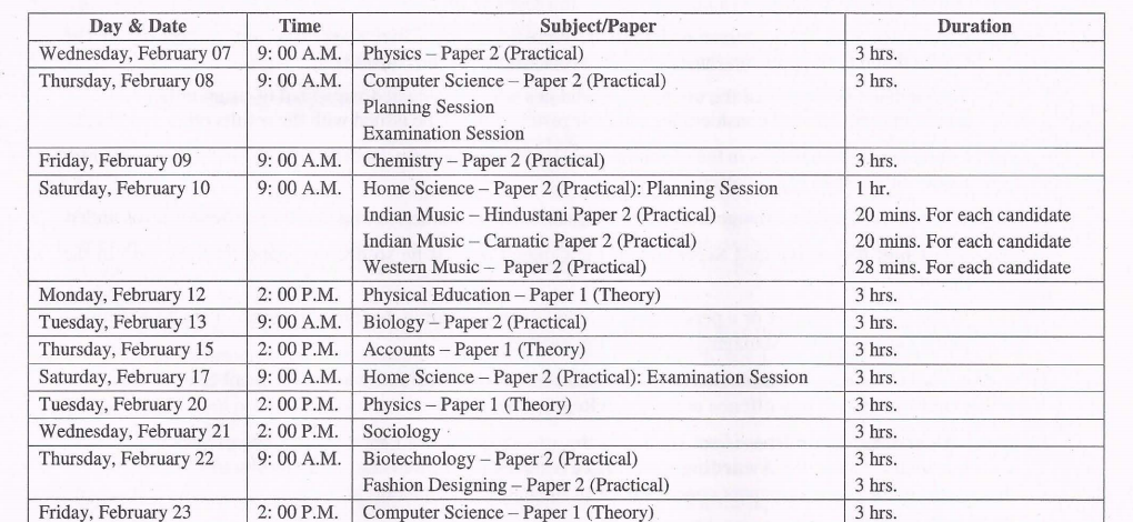 ISC Time Table 2018 2
