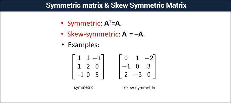 Symmetric Matrix Skew Symmetric Matrix Definition Examples