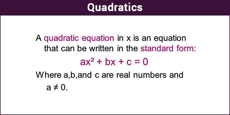 Quadratics Definition Of Quadratics Formula And Example