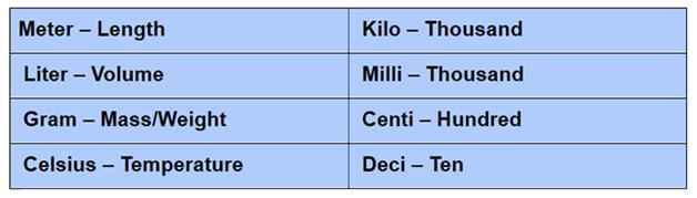 common metric units