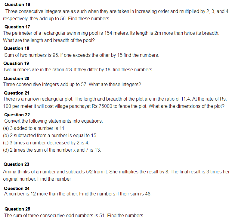 Important Questions Class 8 Maths Chapter 2 Linear Equations One Variable Part 6