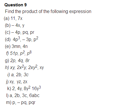 Important Questions Class 8 Maths Chapter 9 Algebraic Expressions Identities Part 4