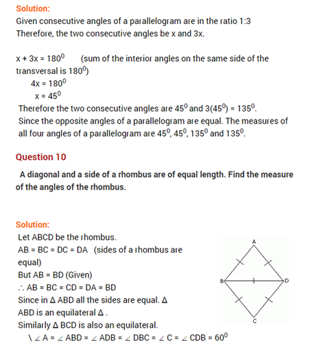 important questions class 8 maths chapter 3 understanding quadrilaterals 8