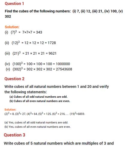 important questions class 8 maths chapter 7 cubes roots 1