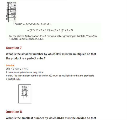 important questions class 8 maths chapter 7 cubes roots 5