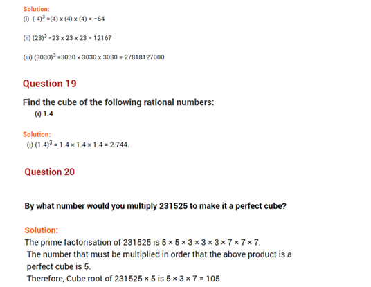 important questions class 8 maths chapter 7 cubes roots 13