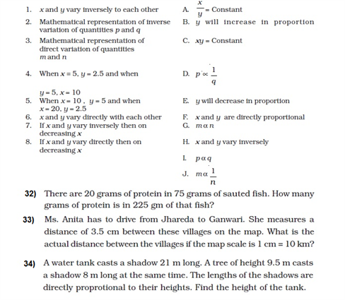 Important Questions For Class 8 Maths Chapter 13 Direct Inverse