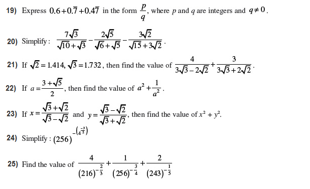 Important questions for class 9 maths Chapter 1 Number System