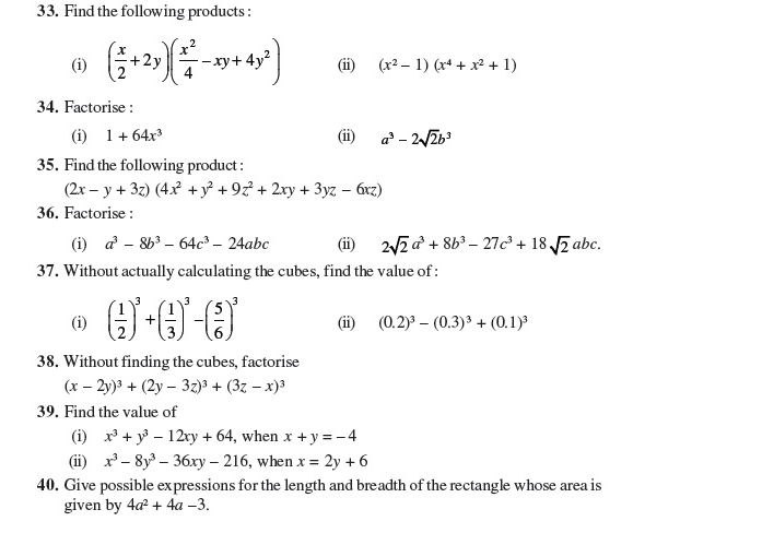 Important Questions Class 9 Maths Chapter 2 Polynomial Part 4