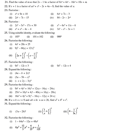 Important Questions Class 9 Maths Chapter 2 Polynomial Part 3