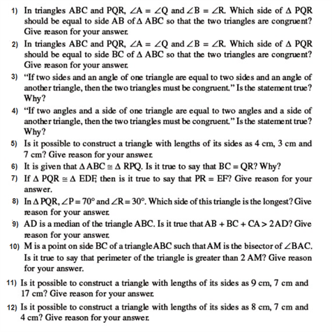 important questions class 9 maths chapter 7 triangles 1