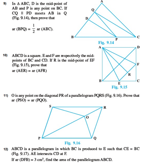 Important Questions Class 9 Maths Chapter 9 Areas Parallelograms Part 3