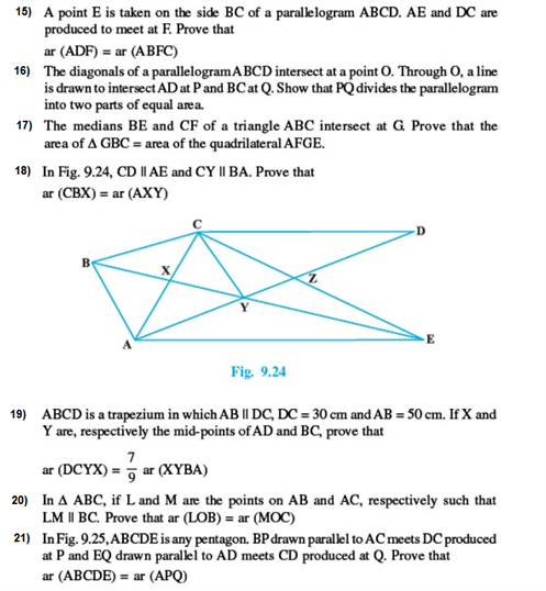 Important Questions Class 9 Maths Chapter 9 Areas Parallelograms Part 5