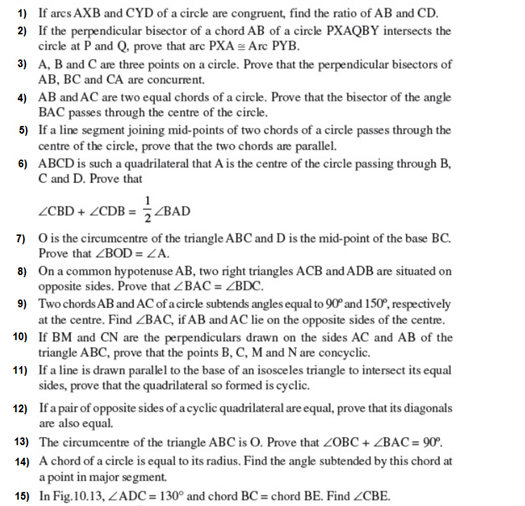 Important Questions Class 9 Maths Chapter 10 Circles Part 1