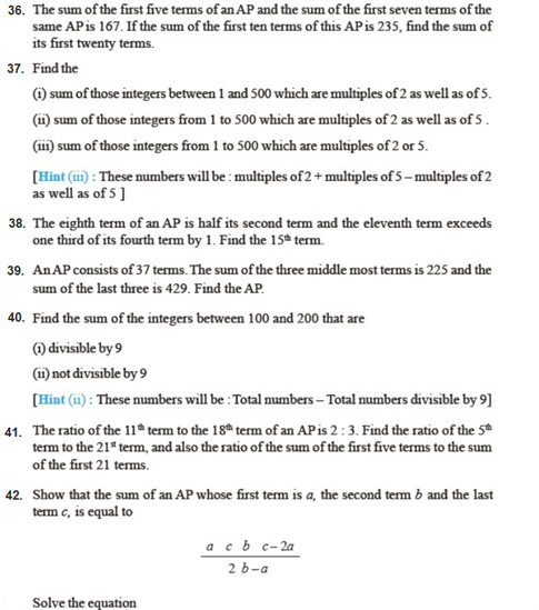 Important Questions Class 10 Maths Chapter 5 Arithmetic Progressions Part 5