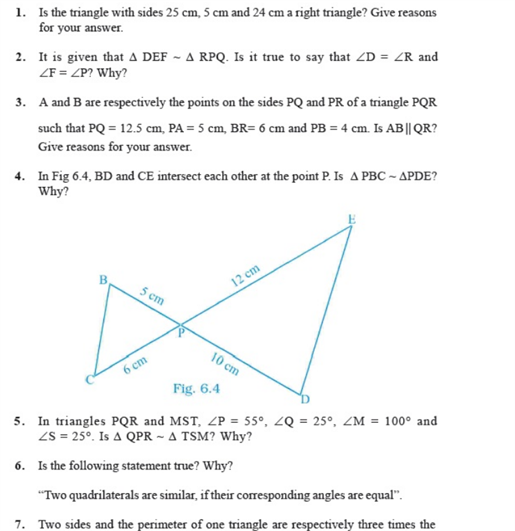 important questions class 10 maths chapter 6 triangles 9