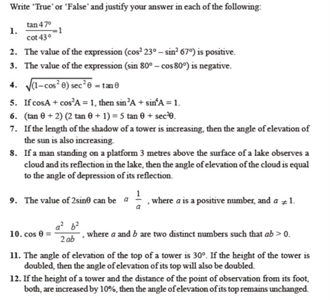 important questions class 10 maths chapter 8 introduction trigonometry 1