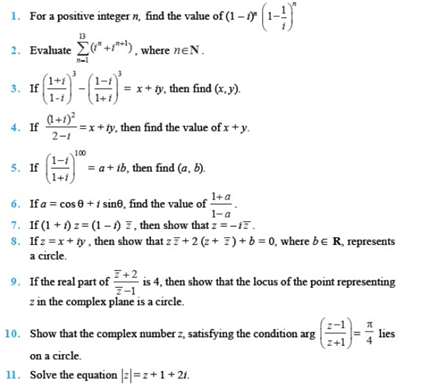 Important questions for class 11 Maths Chapter 5 Complex Numbers and ...