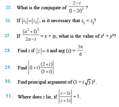 Important Questions Class 11 Maths  Chapter 5 Complex Numbers Quadratic Equations Part 3