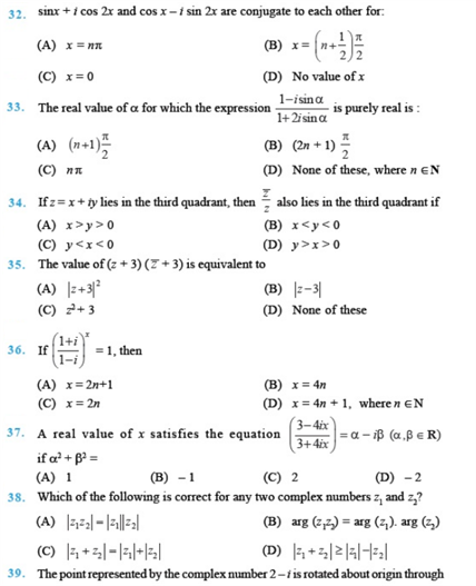 Important Questions Class 11 Maths  Chapter 5 Complex Numbers Quadratic Equations Part 4