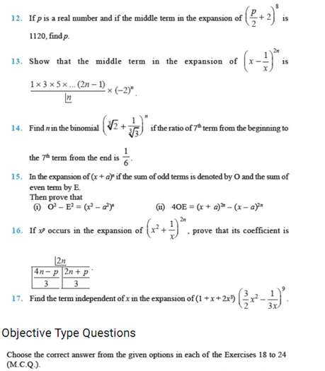 Important Questions Class 11 maths Chapter 8 Binomial Theorem Part 2
