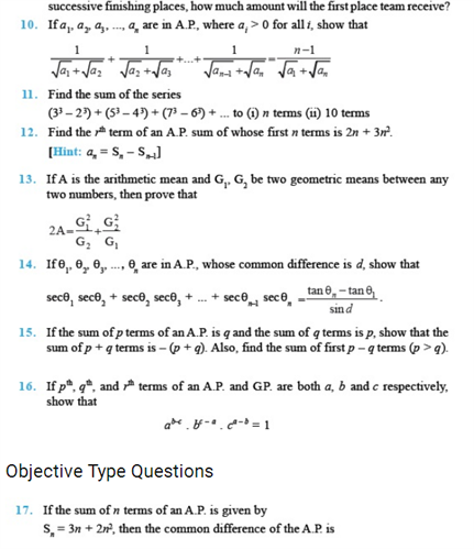 Important Questions Class 11 Maths Chapter 9 Sequences Series Part 2