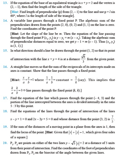 important questions class 11 maths chapter 10 straight lines 2