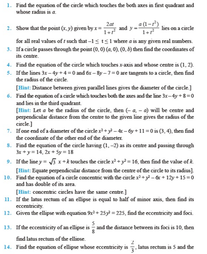 Important Questions Class 11 Maths Chapter 11 Conic Sections Part 1