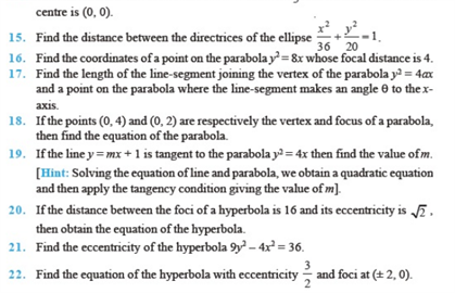 Important Questions Class 11 Maths Chapter 11 Conic Sections Part 2
