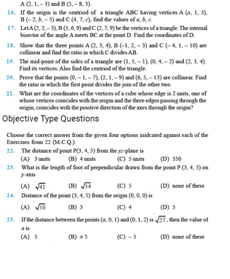 important questions class 11 maths chapter 12 introduction 3 d geometry 2