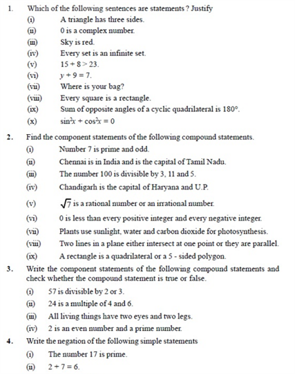 Important Questions Class 11 Maths Chapter 14 Mathematical Reasoning Part 1