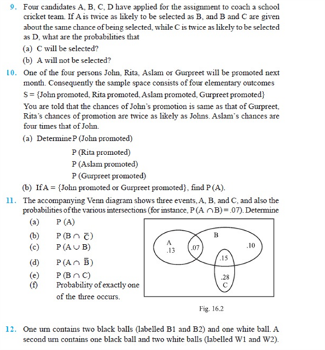 Important Questions Class 11 Maths Chapter 16 Probability Part 2