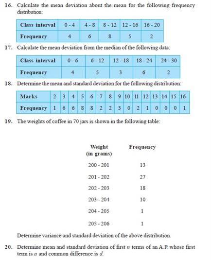 Important Questions Class 11 Maths Chapter 15 Statistics Part 3
