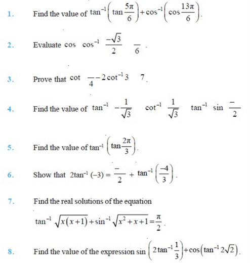 Important Questions For Class 12 Maths Chapter 2 Inverse