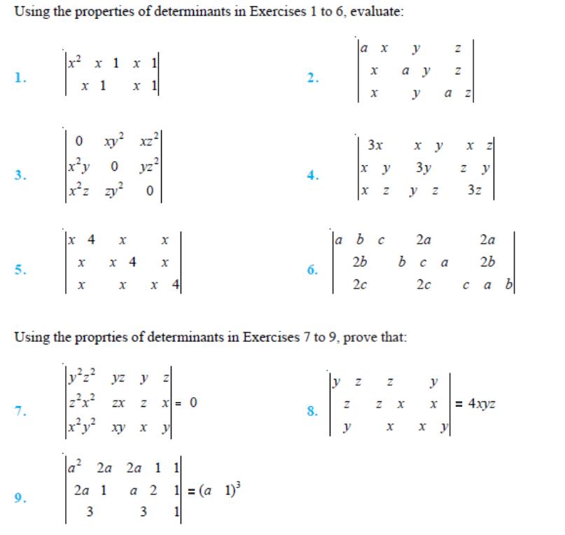 important questions class 12 maths chapter 4 determinants 1