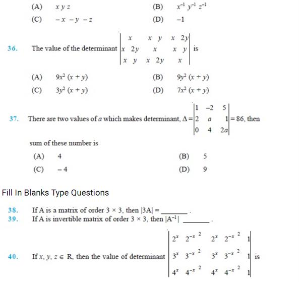 important questions class 12 maths chapter 4 determinants 8