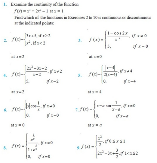 Important questions for class 12 maths Ch. 5 Continuity and ...