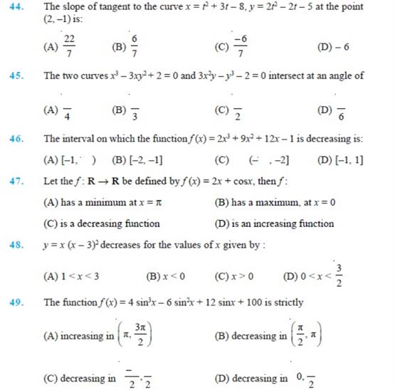 Important Questions Class 12 maths Chapter 6 Applications Derivatives Part 6