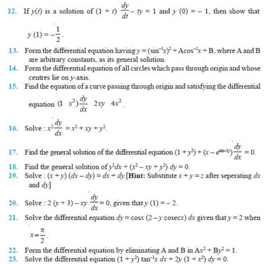 important questions class 12 maths chapter 9 differential equations 2