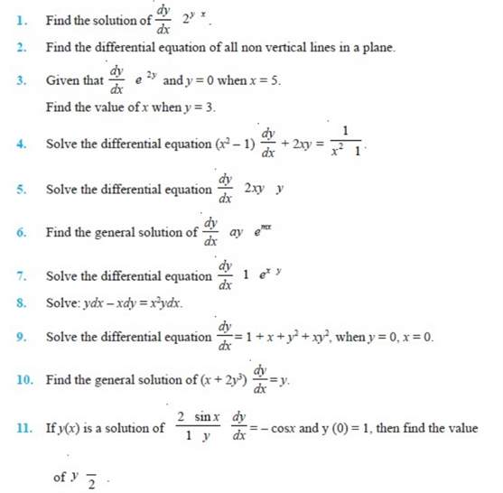 important questions class 12 maths chapter 9 differential equations 1