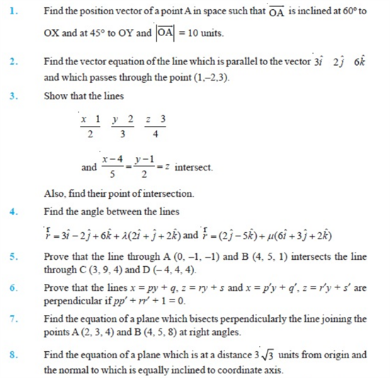 Important Questions Class 12 Maths Chapter 11 Three Dimensional Geometry Part 1