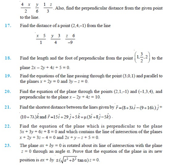 Important Questions Class 12 Maths Chapter 11 Three Dimensional Geometry Part 3
