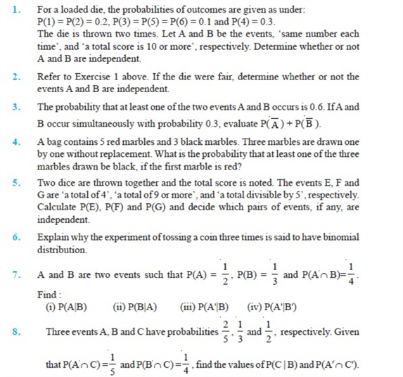 Important Questions Class 12 Maths Chapter 13 Probability Part 1