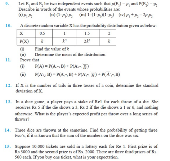 Important Questions Class 12 Maths Chapter 13 Probability Part 2