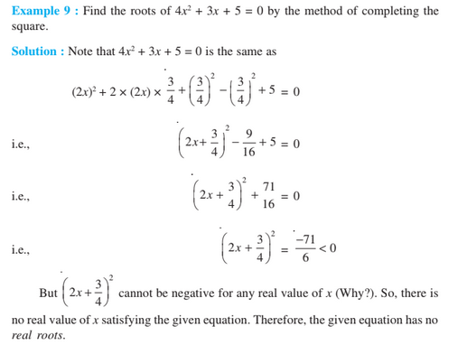 Quadratic Equation For Class 10