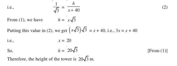 Some Application Of Trigonometry For Class 10