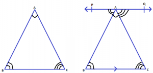 Proof for Angle Sum Property of a Triangle