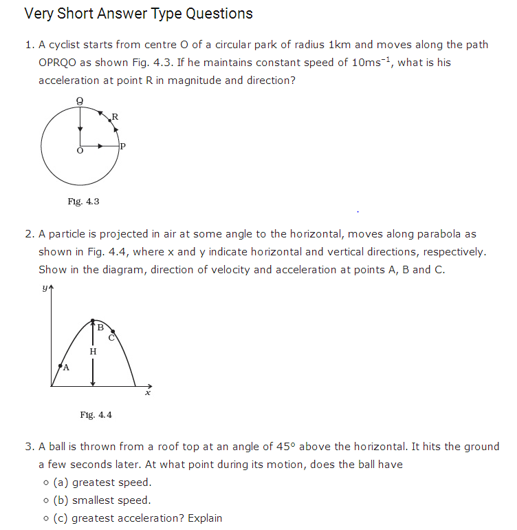 important questions class 11 physics chapter 3 motion plane 1